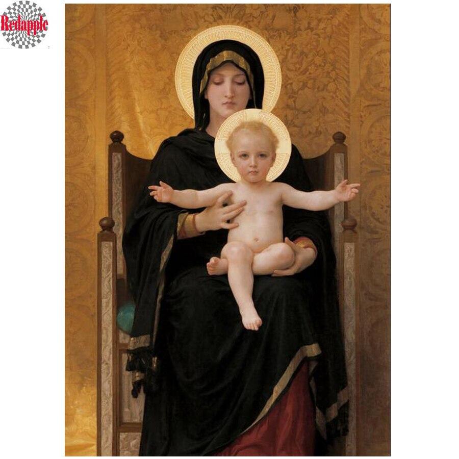 A Virgem dell Granduca Madonna Pintura diamante ponto cruz 3d bordado venda mãe do bebê padrão de mosaico Decoração de Casa pintura