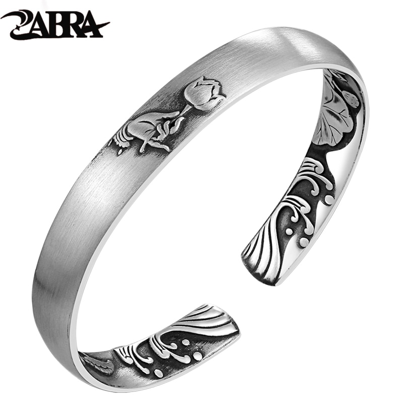 ZABRA Solid Pure 999 Sterling Silver 8mm Lotus Vintage Open Cuff Bracelet Women Guanyin Hand Trendy Rock Bangles Women Jewelry