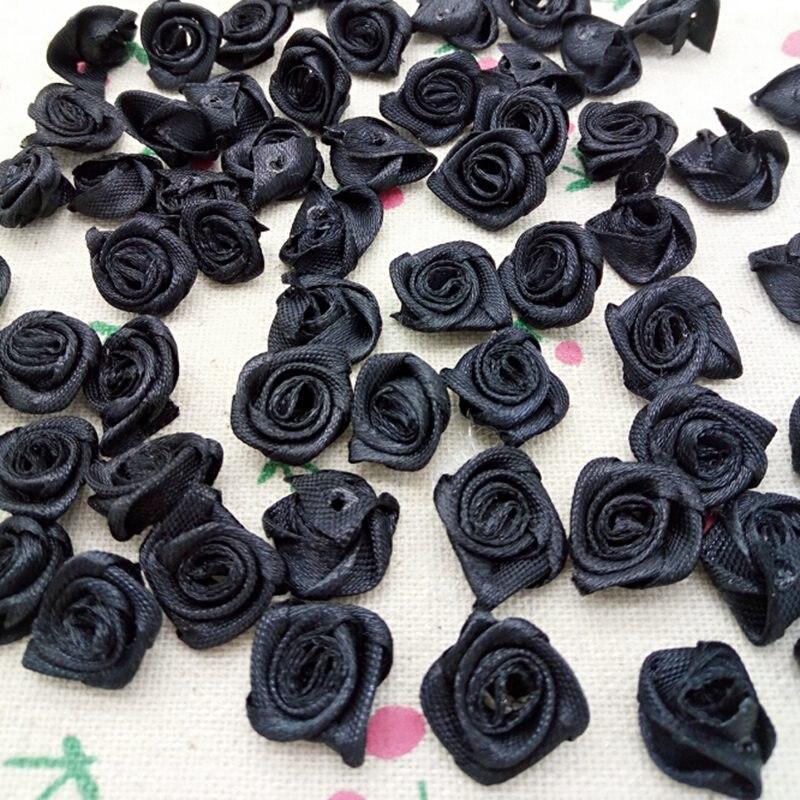 HL-ruban noir de fleurs 15mm, 100 pièces, fleurs, accessoires de couture, décoration de mariage, artisanat A163
