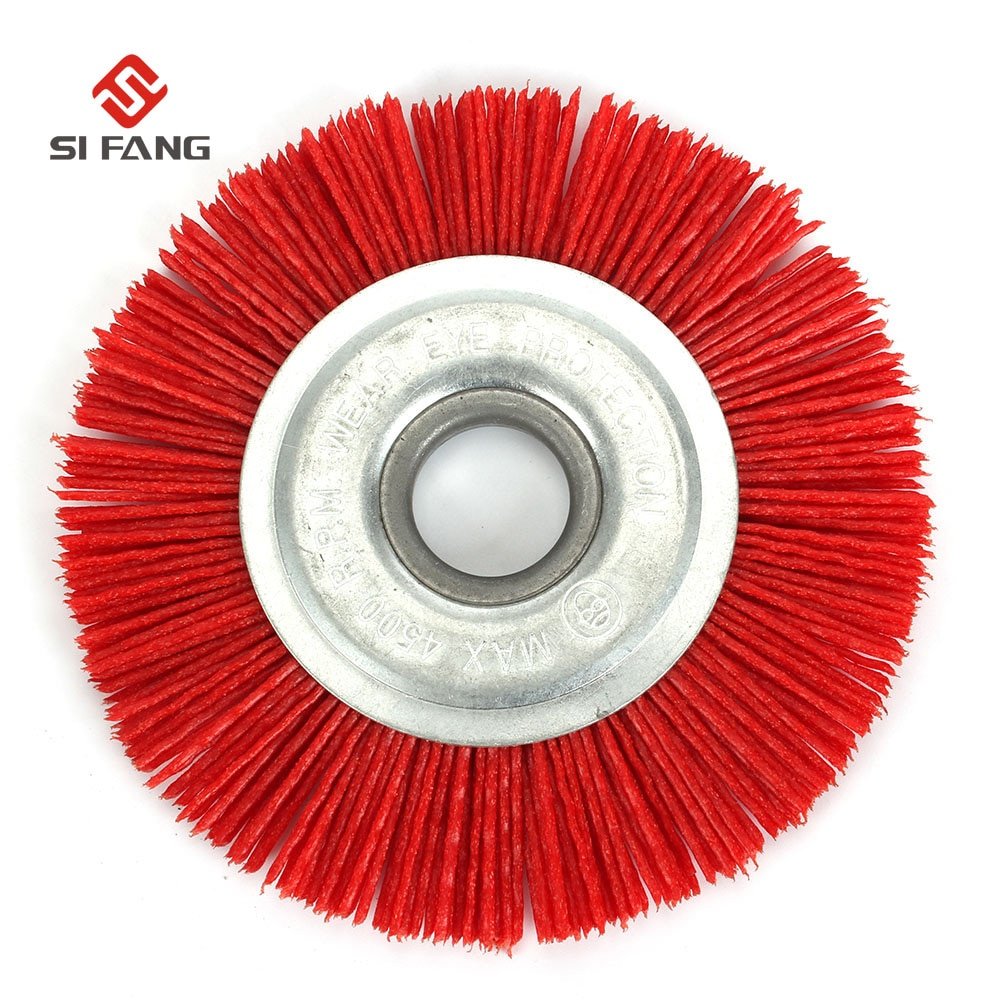 wire drawing machine grinding wire drawing wheel polishing brush polishing wheel brush roller bristle brush grit brush 80 hx6c 100mm Nylon Wheel Brush Abrasive Wire Grinding Polishing Brush Bench Grinder For Wood Furniture Metal