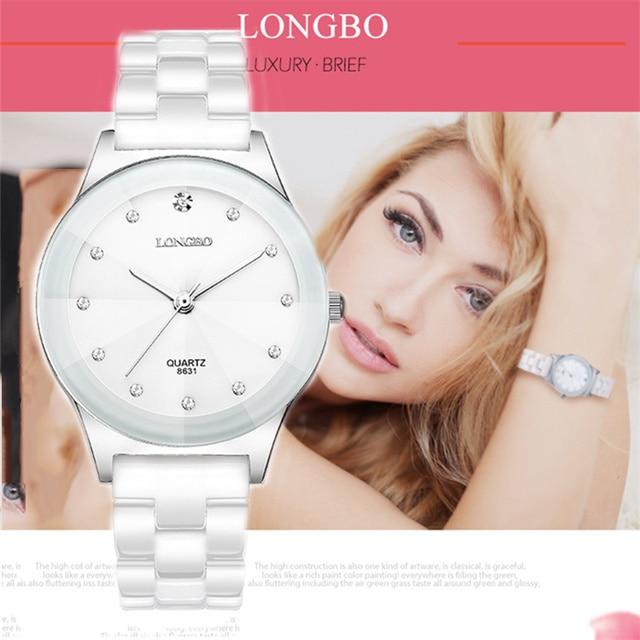Marca LONGBO, relojes de moda para mujer, reloj 2020 de cerámica blanca de lujo, resistente al agua, relojes de pulsera de cuarzo, reloj femenino 8631