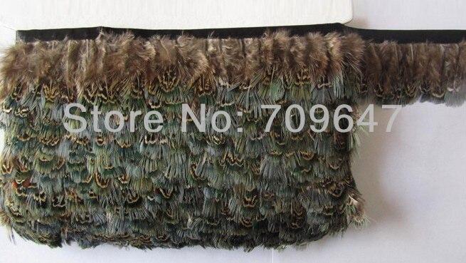 Plumas decorativas! 10 metros/lote altura 5-6cm ringneck faisão verde amêndoa pena guarnição franja, penas decoração