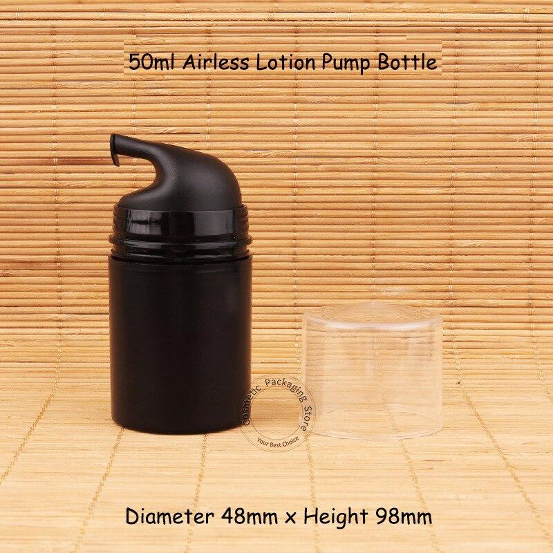 30 unids/lote, nuevo, plástico negro, 50 ml, bomba de loción sin aire, botella de elmuion, envase pequeño de 5/3 OZ, bote cosmético para mujeres, contenedor de 50g