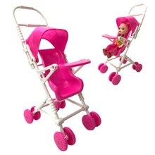 NK Ein Satz Puppe Zubehör Rosa Baby Kinderwagen Infant Wagen Kinderwagen Trolley Kindergarten Spielzeug Mini Möbel Für Barbie Puppe DZ