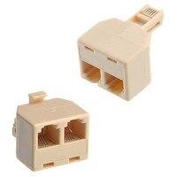 10pcs RJ11 Splitter 1 Male TO 2 Female Adapter Telephone Phone Fax Rj-11 4Pin