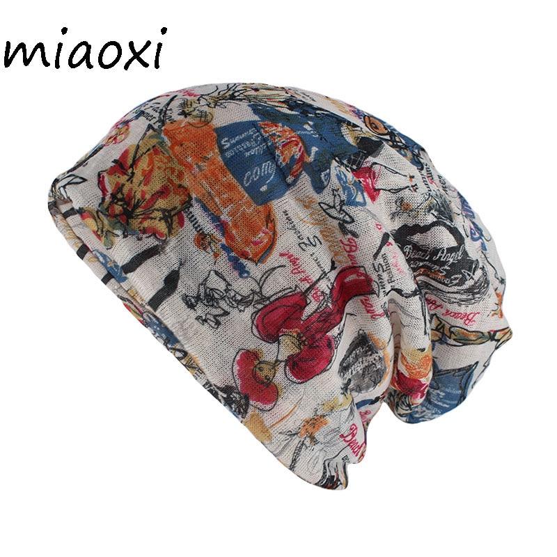 Miaoxi novo estilo floral feminino chapéu moda verão rayon beleza beanies skullies adulto menina gorros duplo usado chapéus cachecol venda