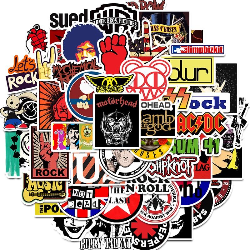 50 Uds pegatina de rock Music Retro Band pegatinas de grafiti para equipaje monopatín teléfono loptop bicicleta pared guitarra Scrapbooking