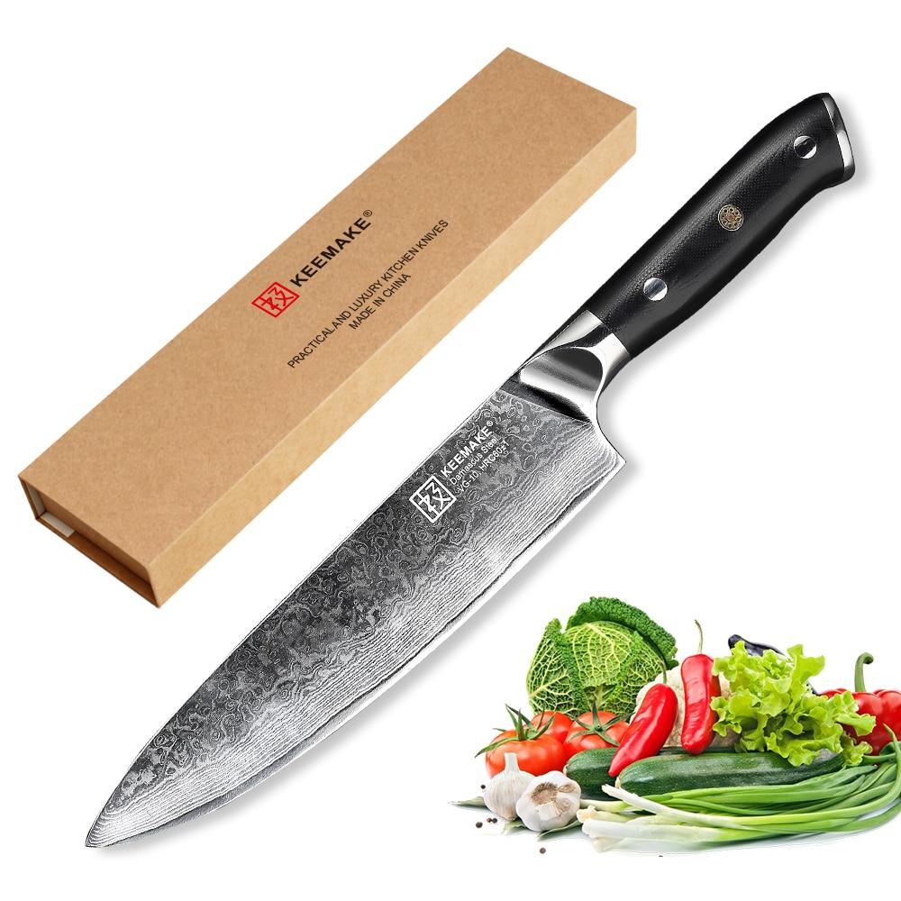 KEEMAKE-سكين الشيف الياباني 8 بوصات ، 73 طبقة ، دمشق ، فولاذ VG10 ، شفرة حادة ، مقبض G10 60HRC