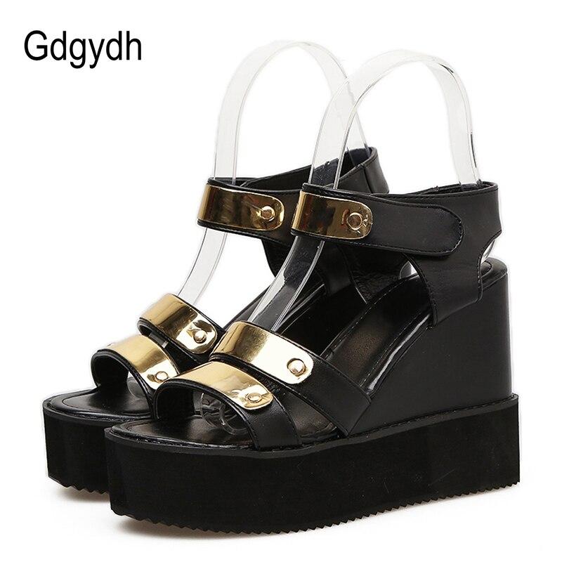 Gdgydh del alto Talón de las mujeres plataforma sandalias Sexy Bling bucle gancho damas zapatos casuales zapatos de verano nueva llegada 2020 mujer cuñas Zapatos