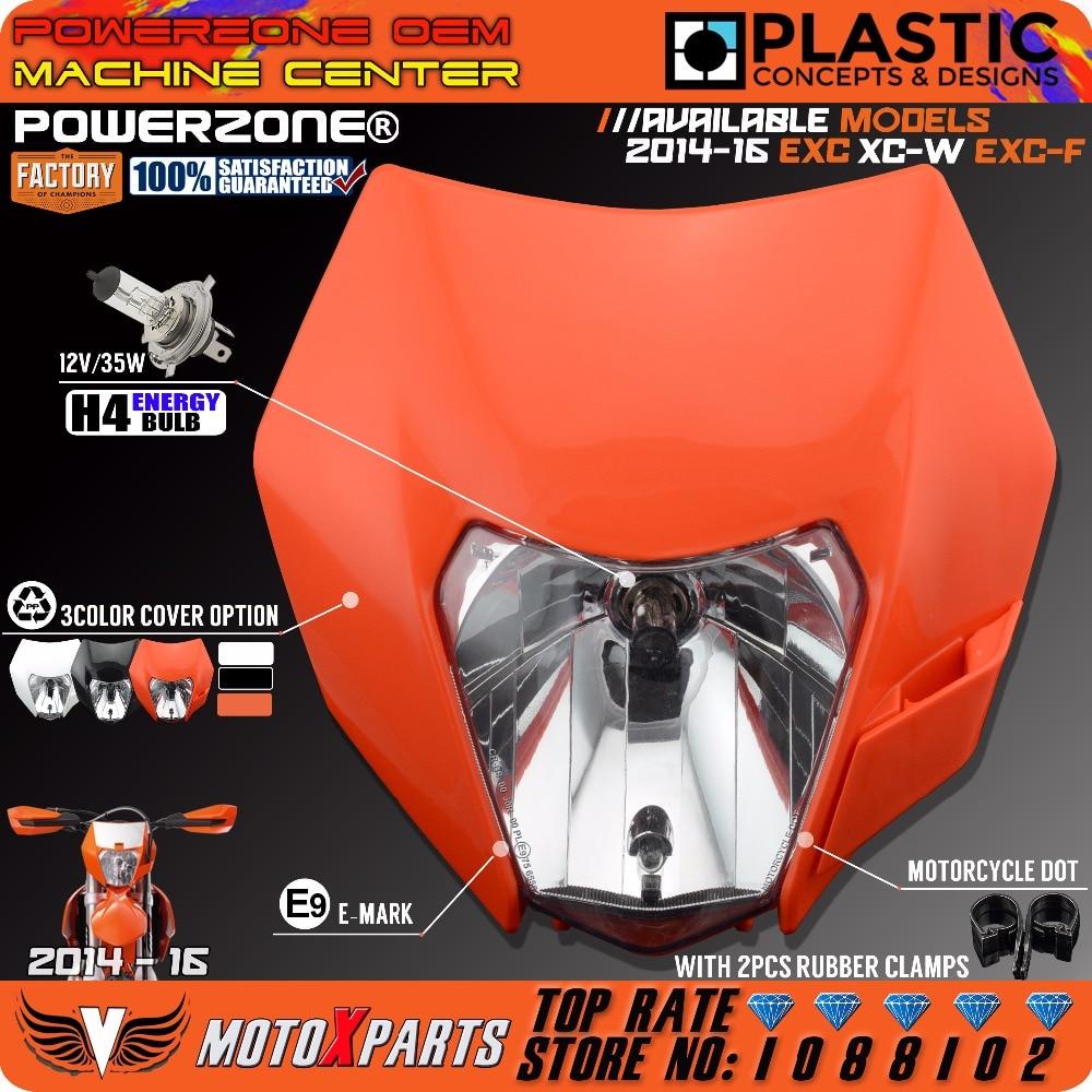 PowerZone Headlight  Motorcycle Dirt Bike Motocross Supermoto  Universal Orange  For KTM SX EXC XCF SXF SMR 2015 16 Headlamp