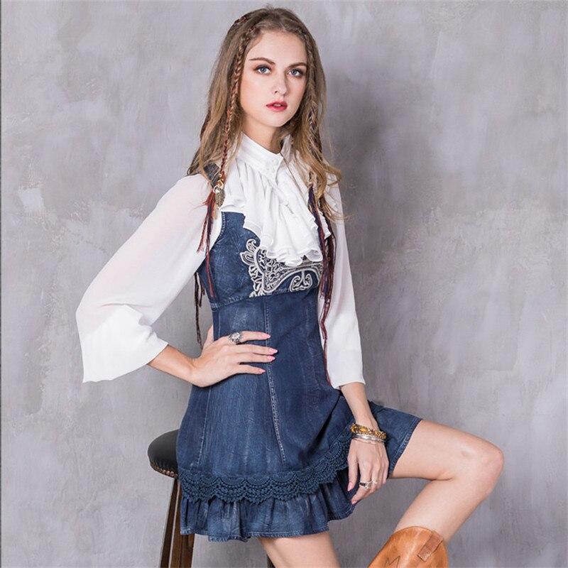 Primavera mulheres do vintage dress 2017 moda denim vestidos floral dress lace layered a linha de bordar o-pescoço alta dignidade sundresse