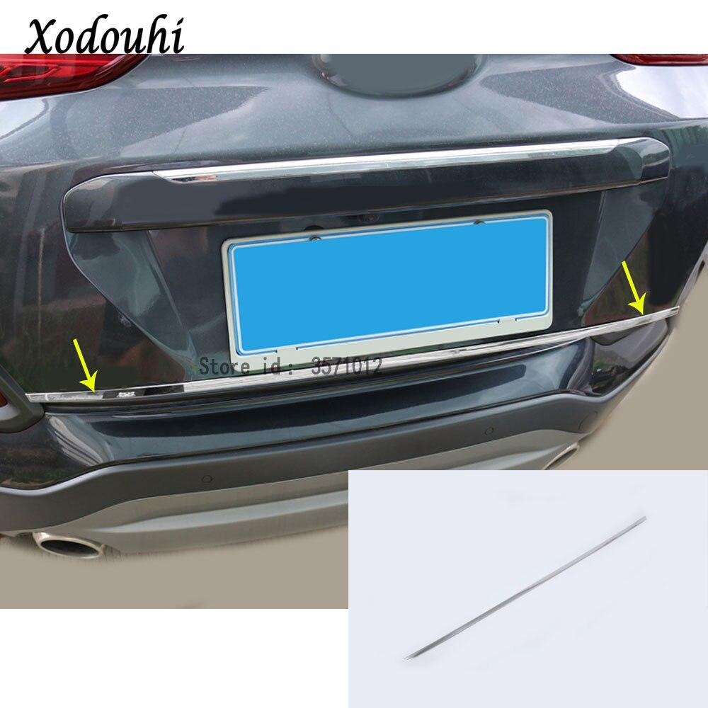 Para Hyundai Kona Encino Kauai 2017 2018 2019 2020 pegatina de coche con estilo puerta trasera licencia parachoques embellecedor de bastidor maletero
