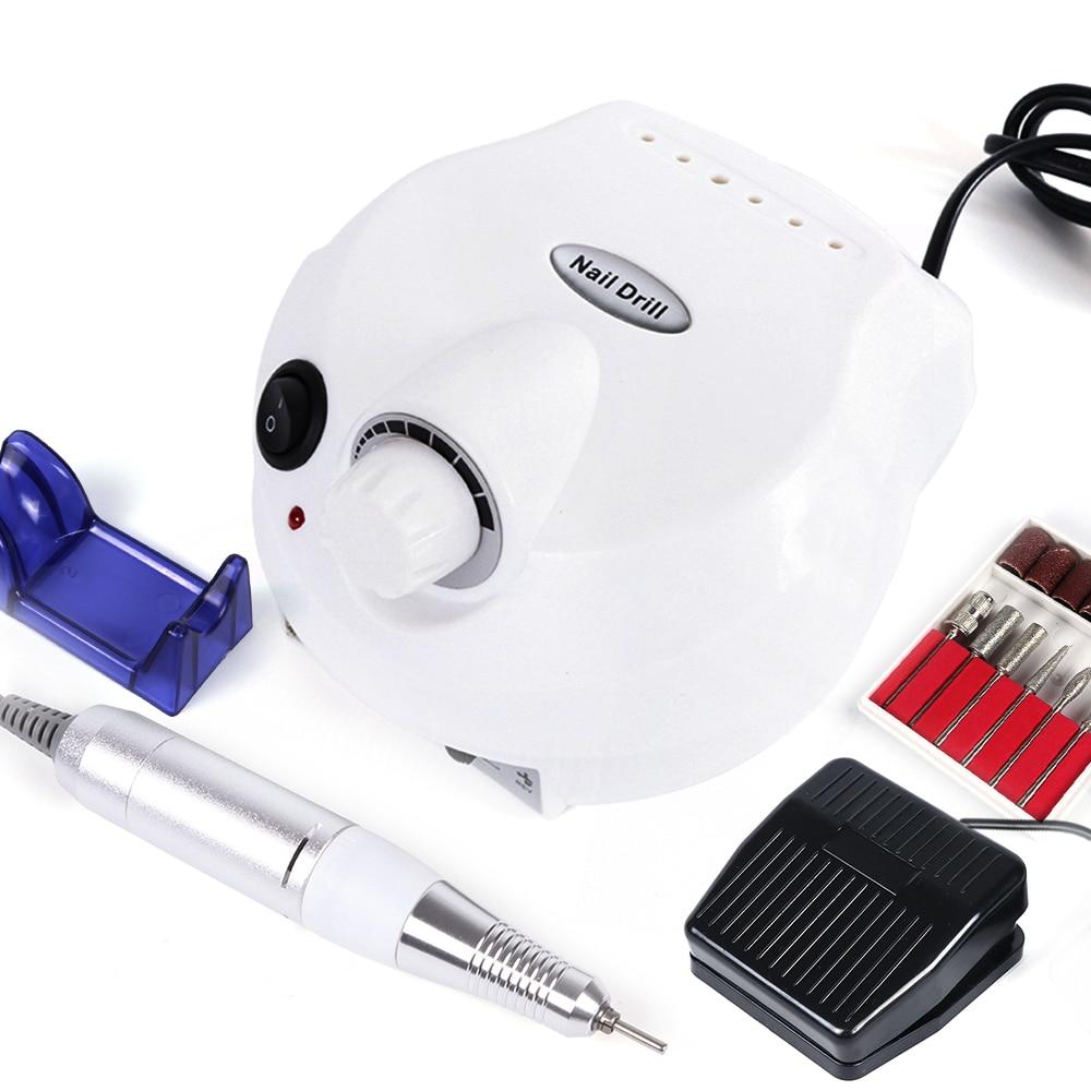 Pro uña taladro máquina herramienta eléctrica de manicura 30000rpm negro blanco portátil pieza de arte de uñas pulidor accesorios SAdr401