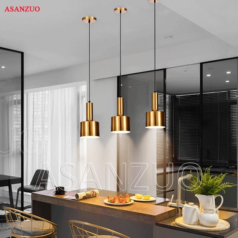 Nordic Brass pendant lights postmodern minimalist restaurant pendant lamp antique metal hanging lamp lighting