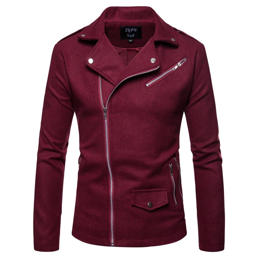 Autumn Spring New Men's Solid Color Coat Personality Diagonal Pull British Men's Slim Windbreaker Wool & Blends Jacket
