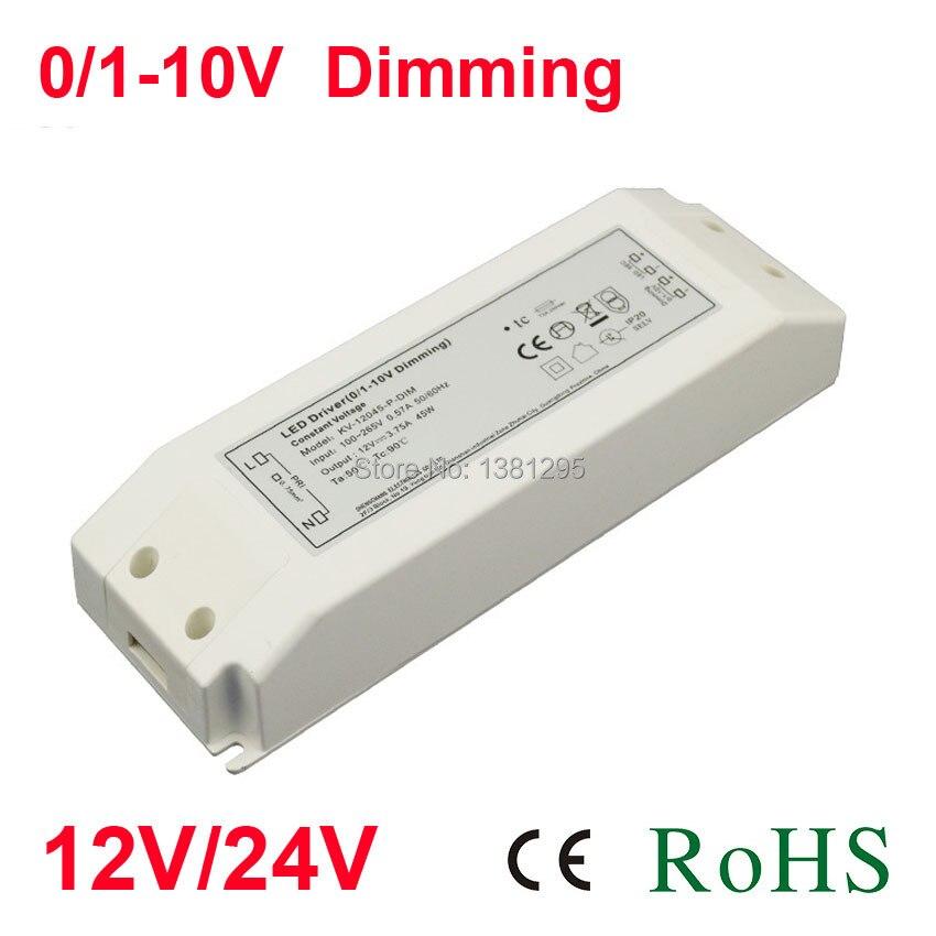 24V DC 12V fuente de alimentación transformador de iluminación electrónica 220V 12 voltios adaptador controlador LED regulable 0-10V alimentación 20W 30W tira