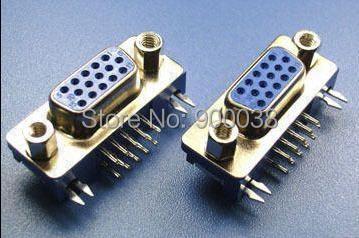 موصل أنثى VGA 15P بزاوية قائمة ، 3.08 مللي متر ، أزرق ، Rohs ، شحن مجاني ، 1000 قطعة ، بواسطة ups