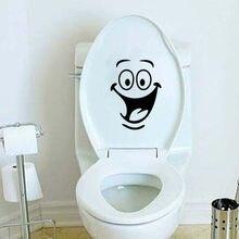 Autocollant mural pour carrelage salle de bain cuisine   Autocollant de toilette, visage souriant, imperméable, noir, dessin animé Emogi, autocollant mural en vinyle 867