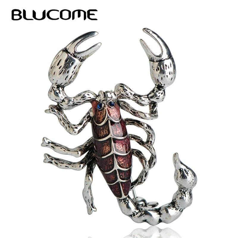 Женские фиолетовые броши в виде скорпиона Blucome, эмалированная брошь многоножка, заколки для одежды