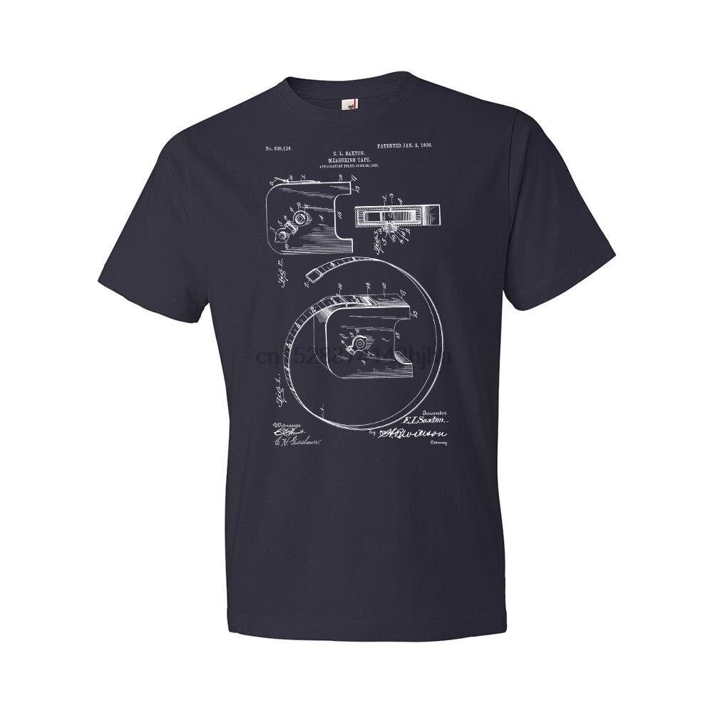 2018 Hot Sale New Men T Shirt Retractable Measuring Tape T-Shirt Tape Measure Tape Measure T-shirt Patent Gift O-Neck Tee