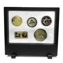 5pcs/set Masonic Series Collection Coin Bullion Bars Commemorative Madals Masonic Mason Freemason Challenge Coin with Display