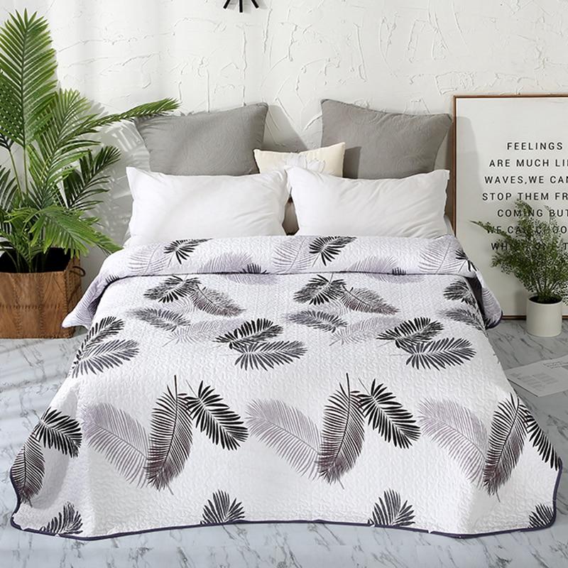 مفرش سرير من القطن والبوليستر بطباعة أوراق الشجر ، مفرش سرير/غطاء سرير ، لحاف ، صيفي ، 15 لونًا ، # sw