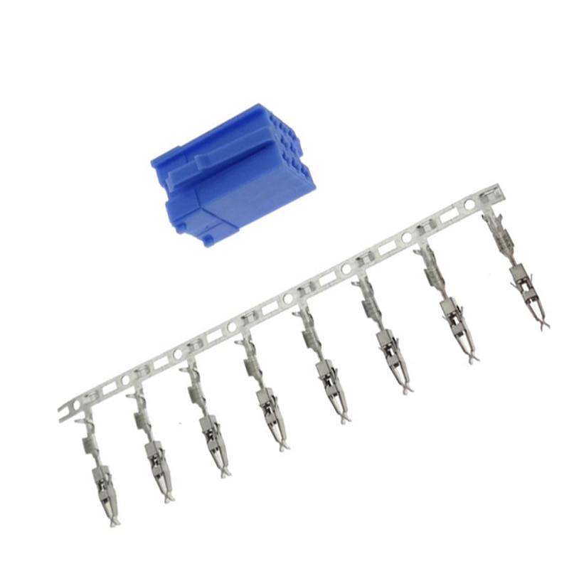 10 Juegos de MINI conector azul ISO de 8 pines para Volkswagen Audi Skoda VDO Blaupunkt Mini conector ISO