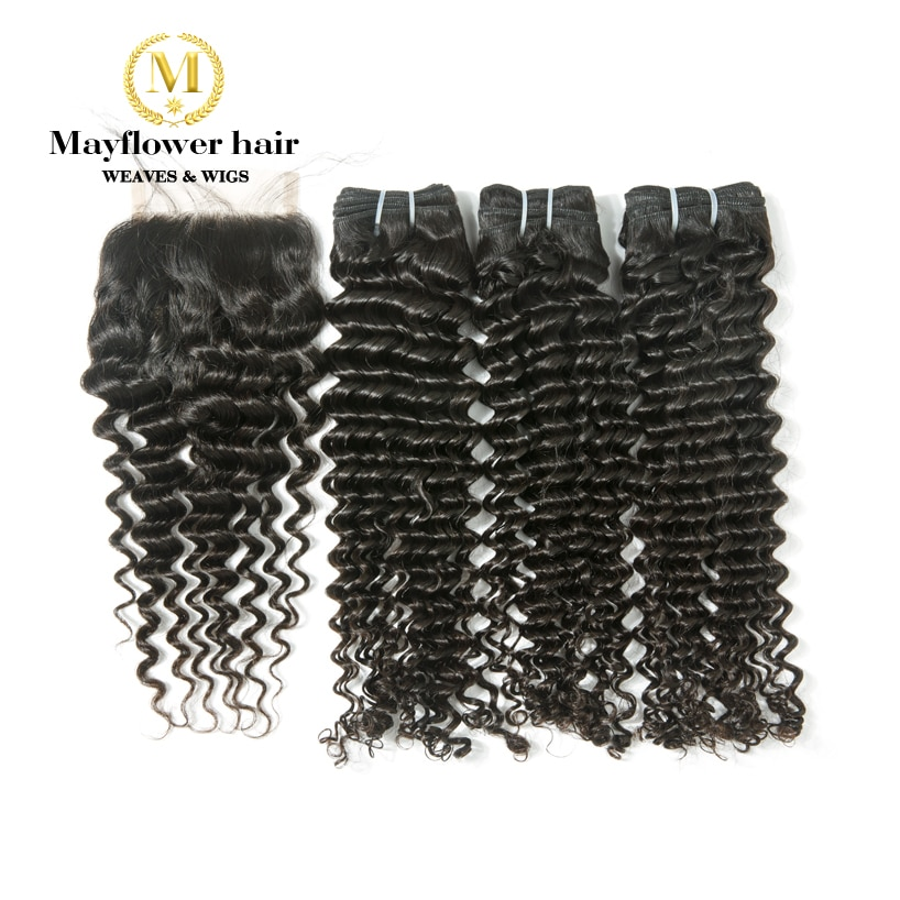 Mayflower 100% Virgin Malaysian hair deep wave 3/4 bundles with 4x4