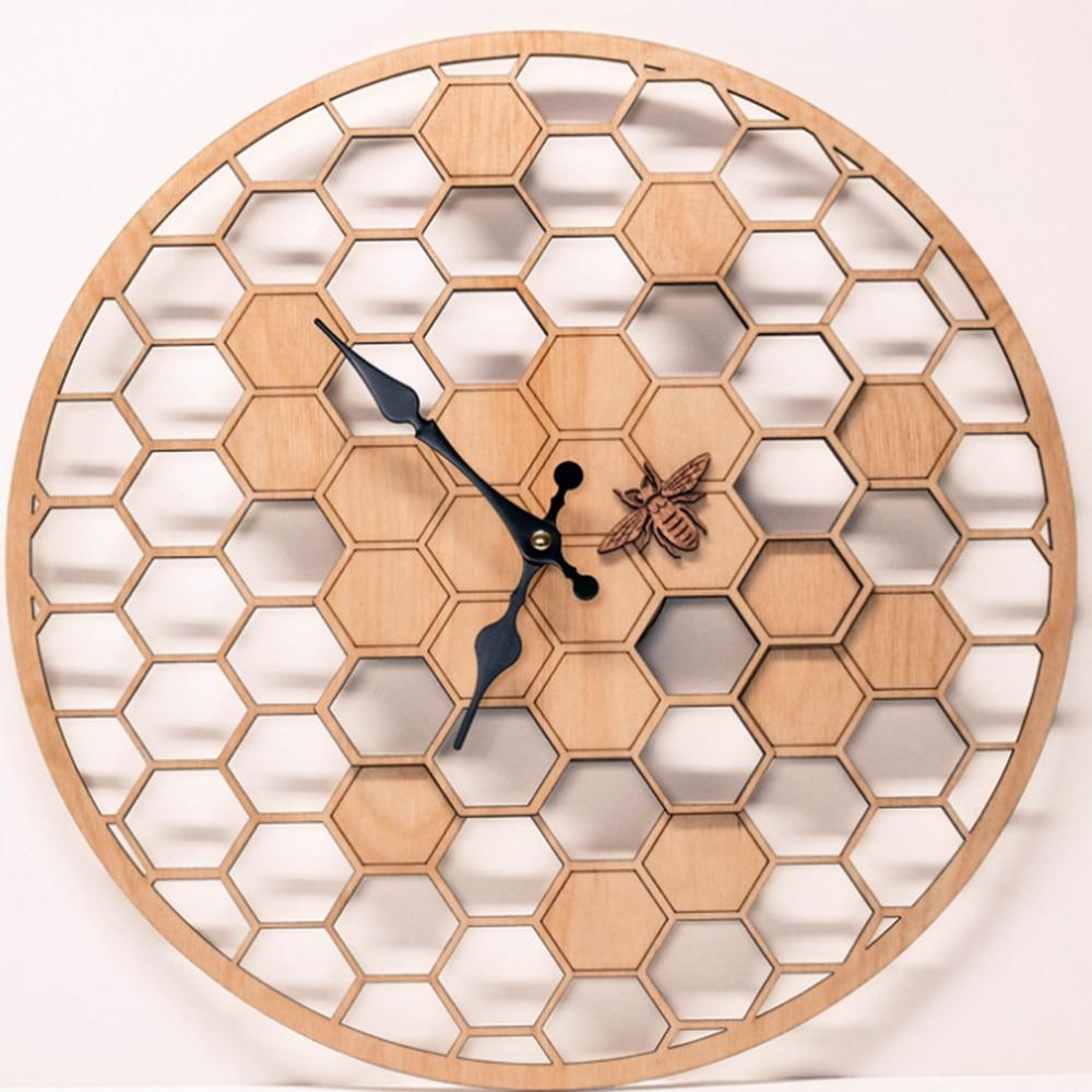 Creativo Reloj de pared de bambú/madera de abeja decoración de madera Natural de nido de abeja de jardín pared colgante relojes de mesa reloj de cuarzo