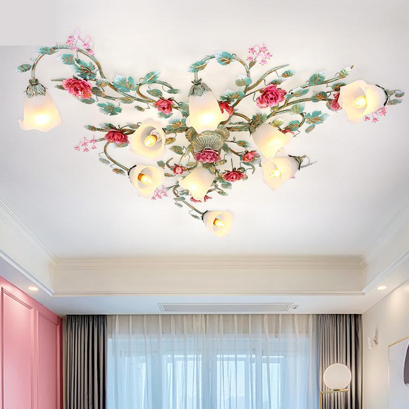 Современный кантри всасывания крыши освещение гостиной лампа освещение пасторальный цветок спальня потолочные светильники романтическая роза фонарь