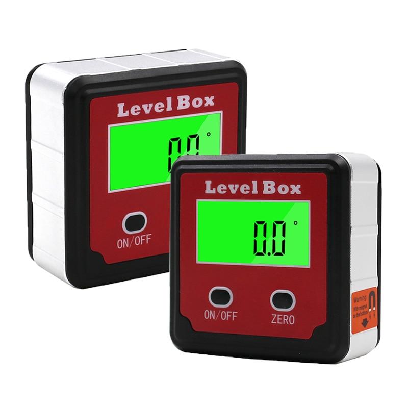 LCD Precisie Digitale Gradenboog Inclinometer Water Proof Niveau Doos Digitale Hoekzoeker Bevel Box Met Magneet Base