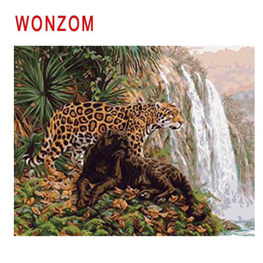 WONZOM leopardo pintura por números abstracto pintura al óleo de animales cascada Cuadros decoración pintura acrílica sobre lienzo, arte moderno