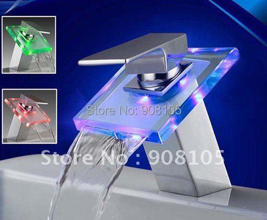 LED waterfull brass ceramic cartridge bathroom sanitary basin wide spread single level mixer faucet water tap light