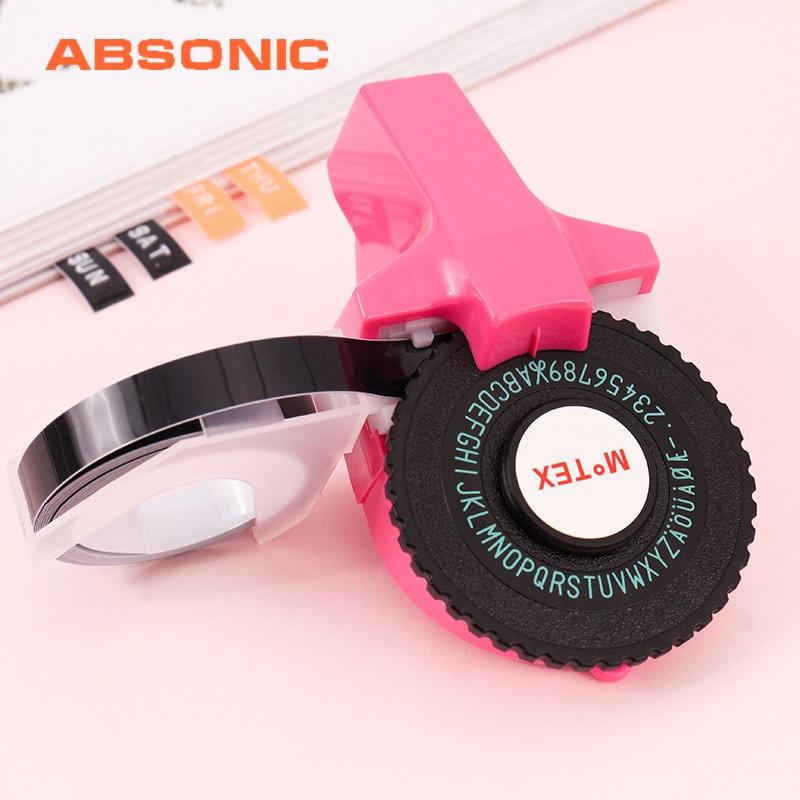 Absonic, grabado en 3D Motex E101, fabricante de etiquetas de 9mm para impresora de etiquetas Dymo, letras digitales coreanas, máquina de escribir, etiquetado Manual