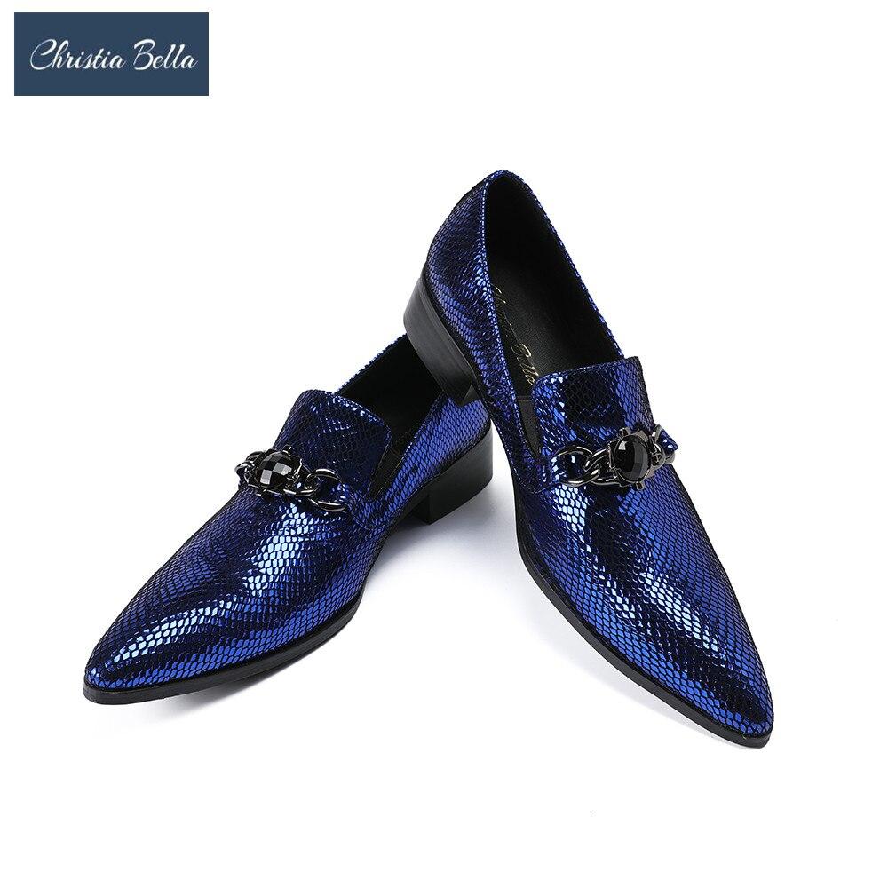 Zapatos de negocios de cuero con relieve de Jera Bella para hombre, zapatos informales para hombre, zapatos formales estilo Oxford con cadena metálica