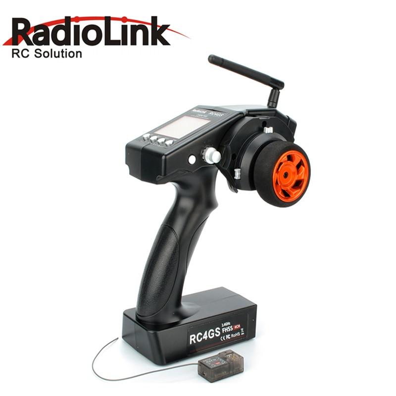 Envío gratis 4 canales 4 RadioLink RC4GS 2,4G 4CH Gun Controller transmisor + R6FG receptor Gyro interior para RC Car RC Boat