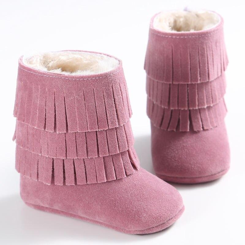 Botas con borlas para bebés de 3 capas para niños y niñas botas de nieve cálidas de piel de lana de gamuza de cuero de invierno cuna para niños zapatos gruesos de algodón