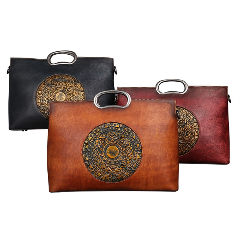 Nesitu moda marrón gris rojo A4 Vegatable Tanned cuero genuino mujeres bolsos de mano bolsas de mensajero bolso de hombro femenino M1158