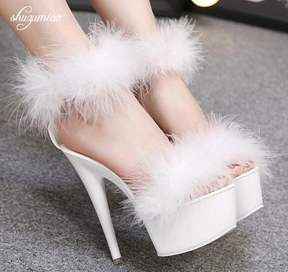 Señora zapatos, sandalias de niña 2019 de diseño de marca de verano zapatos de mujer Zapatos de tacón alto 15cm plataforma fiesta boda sandalias de mujer de pasarela