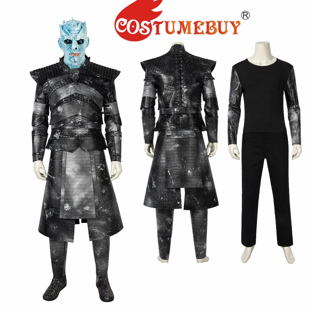 CostumeBuy Juego de tronos 8 una canción de hielo y fuego en la noche es el rey Cosplay traje caballero Medieval invierno luchando traje L920