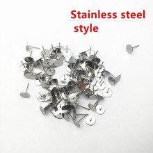 200pcs Metal Blank Earring Stud Base Fit 3 4 5 6 mm Gold Earring Post Flat Base Pins Settings DIY Jewelry Making HK022