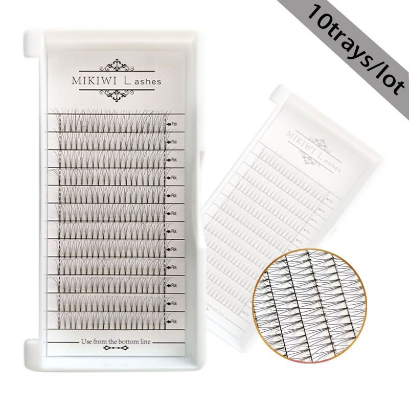 MIKIWI volumen ruso pestañas hechas a mano ventiladores 5D 10 bandejas 0,07mm 12 filas cinta de raíz pestañas extensión maquillaje pestañas de