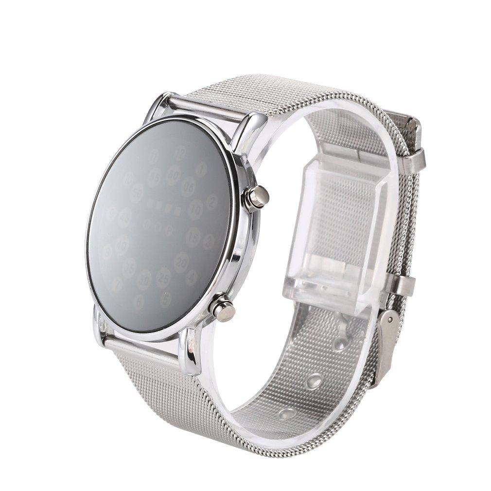 Elegante reloj de moda a prueba de agua LED táctil Digital pantalla día fecha correa de acero reloj de pulsera Digital para hombres