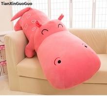 Riesige 140 cm cartoon rosa nilpferd plüschtier weiche dekokissen kissen geburtstagsgeschenk b2800