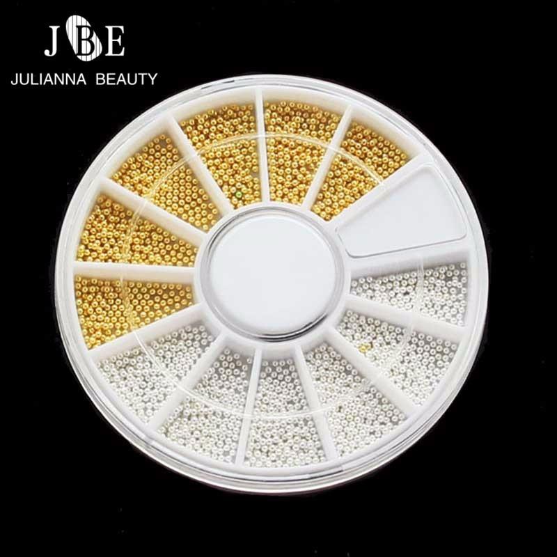 3 коробки/партия блестящие золотые серебряные жемчужины для дизайна ногтей металлические блестящие 3D колеса маникюрный лак икра бусины для...