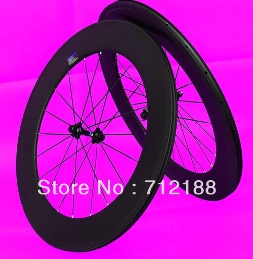 Completa de carbono 3 K Matt Estrada da bicicleta clincher rodado 88mm-Rim + + hub + Spokes espetos