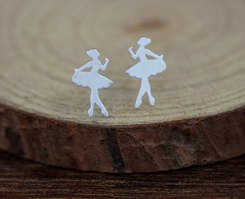 ANENJERY Ballet Dancing Girl Dancer Princess Temperament Stud Earrings 925 Sterling Silver Ear Jewelry S-E122