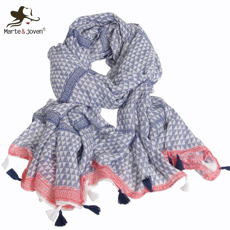 Marte & Joven moda Mini estampado de triángulos azul gran tamaño algodón bufanda para las mujeres Simple otoño invierno cálido chal señoras musulmán Hijab