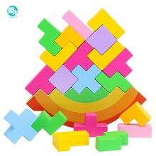 Brinquedo do bebê bloco de madeira equilíbrio tetris cortar blocos jogo de mesa desenvolvimento do cérebro do bebê brinquedos educativos presentes para crianças