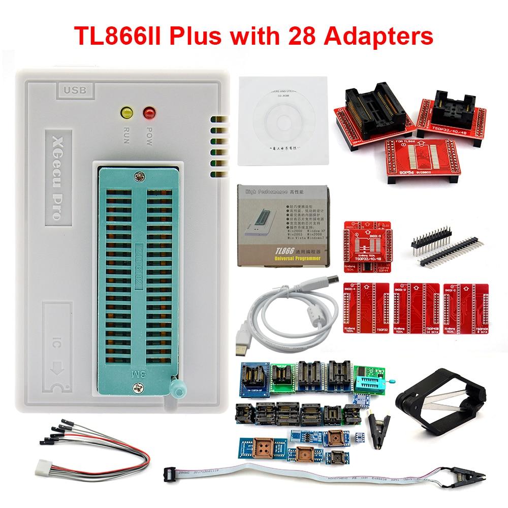 100% original xgecu v9.00 tl866ii plus universal minipro programador + 28 adaptadores clipe de teste tl866 pic bios alta velocidade programador